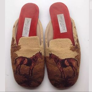 GLADSTONE Rare Equestrian Horse Needlepoint Flats